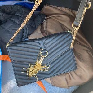 Classy Gold & Black Leather Satchel